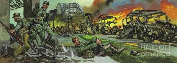 Wall Art - Painting - The Battle Of Arnhem, Arnhem Bridge by Ron Embleton