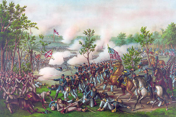 Wounded Soldier Painting - The Battle Of Atlanta, by American School