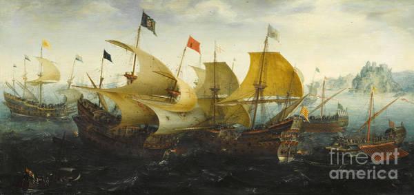 Wall Art - Painting - The Battle Of Cadiz Of 1587 by Aert van Antum