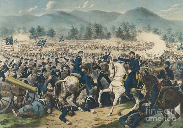 Wall Art - Painting - The Battle Of Gettysburg by Currier and Ives
