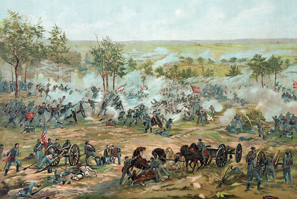 Usa Drawing - The Battle Of Gettysburg by Paul Dominique Philippoteaux