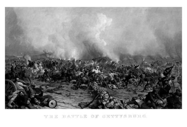Wall Art - Drawing - The Battle Of Gettysburg by War Is Hell Store