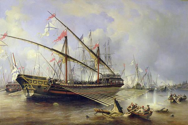 The Battle Of Grengham On 27th July 1720 Art Print