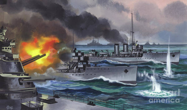 Wall Art - Painting - The Battle Of Jutland  by Ron Embleton
