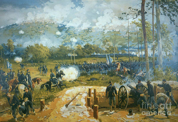 1864 Wall Art - Painting - The Battle Of Kenesaw Mountain by American School