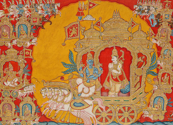 Indian God Painting - The Battle Of Kurukshetra by Indian School