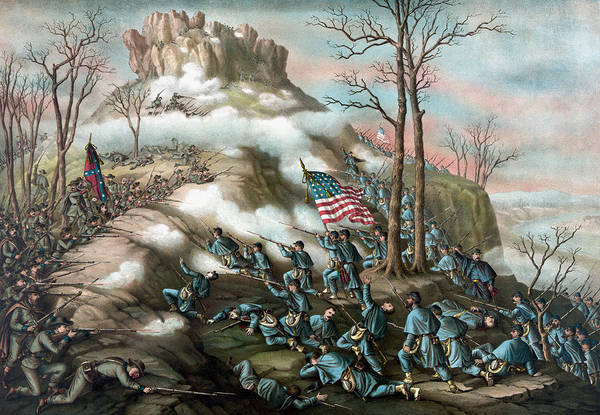 Wall Art - Painting - The Battle Of Lookout Mountain  by War Is Hell Store