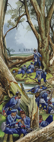 Wall Art - Painting - The Battle Of Sadowa, 1866, The Prussians In The Woods Under Heavy Attack by Ron Embleton