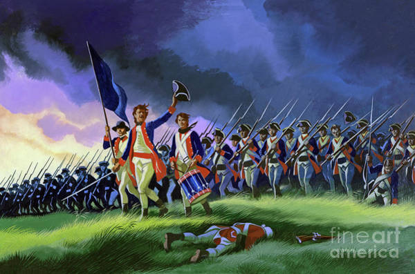 Surrendering Painting - The Battle Of Saratoga, Showing A General Attack Led By Brigadier Arnold by Ron Embleton