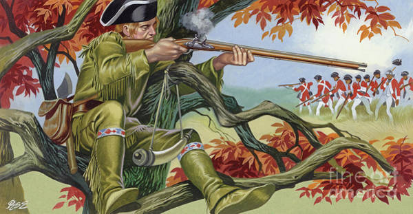 Sharpshooter Wall Art - Painting - Battle Of Saratoga, With Brigadier Arnold's Sharp-shooters, Picking Off The Britisr by Ron Embleton