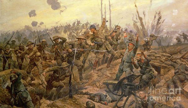 Dying Painting - The Battle Of The Somme by Richard Caton Woodville II