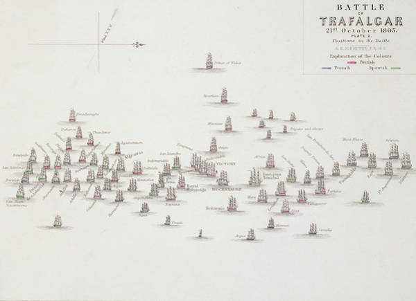 The Clash Wall Art - Drawing - The Battle Of Trafalgar by Alexander Keith Johnston