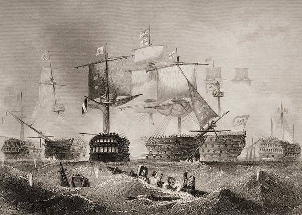 Wall Art - Drawing - The Battle Of Trafalgar. Engraved By by Vintage Design Pics