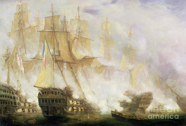Galleons Wall Art - Painting - The Battle Of Trafalgar by John Christian Schetky