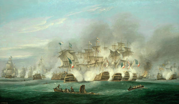 Battle Of The Atlantic Wall Art - Painting - The Battle Of Trafalgar by Thomas Luny