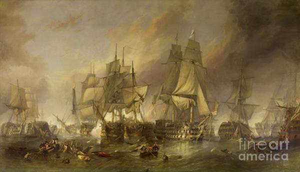 1805 Painting - The Battle Of Trafalgar by William Clarkson Stanfield