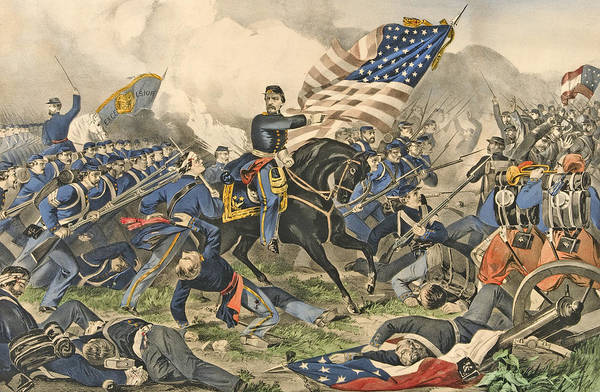 Wounded Soldier Painting - The Battle Of Williamsburg, Va by Currier and Ives