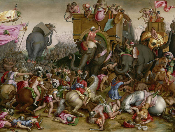 Wounded Soldier Painting - The Battle Of Zama by Cornelis Cort