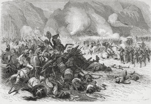 Wall Art - Drawing - The Battle On Mount Fahla, Abyssinia by Vintage Design Pics