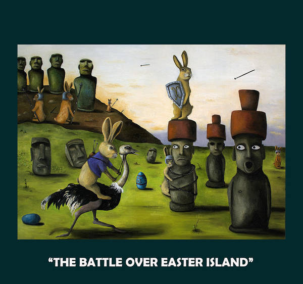 Painting - The Battle Over Easter Island With Lettering by Leah Saulnier The Painting Maniac
