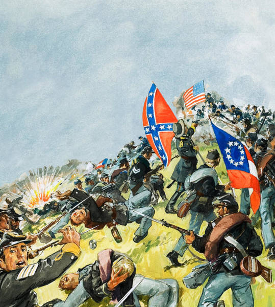 Confederate Generals Painting - The Battlefield At Gettysburg by Leo Davy
