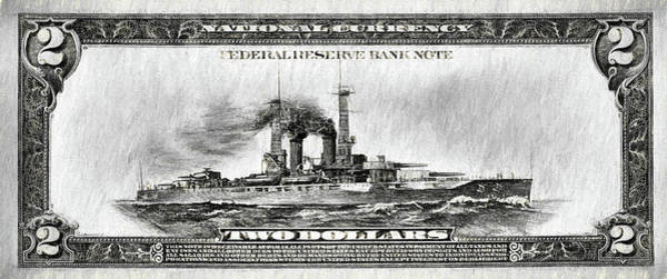 Digital Art - The Battleship Two Dollar Bill Black And White by JC Findley