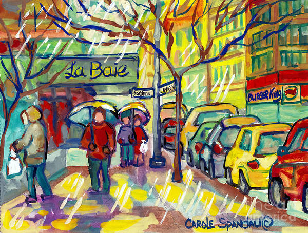 Painting - The Bay And Burger King Rainy Day Paintings Montreal Watercolor Streetscenes Downtown Art C Spandau by Carole Spandau