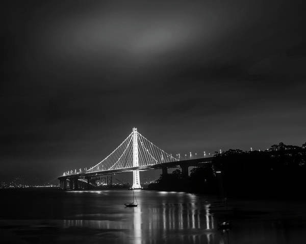 Photograph - The Bay Bridge San Francisco Ca Boats Black And White by Toby McGuire