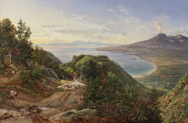 Wall Art - Painting - The Bay Of Naples With Mount Vesuvius by Johan Christian