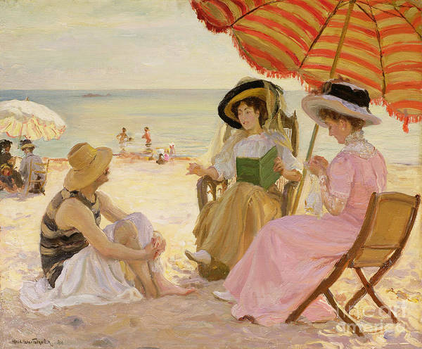 Woman Reading Wall Art - Painting - The Beach by Alfred Victor Fournier