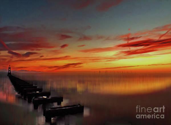 Liverpool Skyline Digital Art - The Beach At Sunset. Digital Art by John Wain