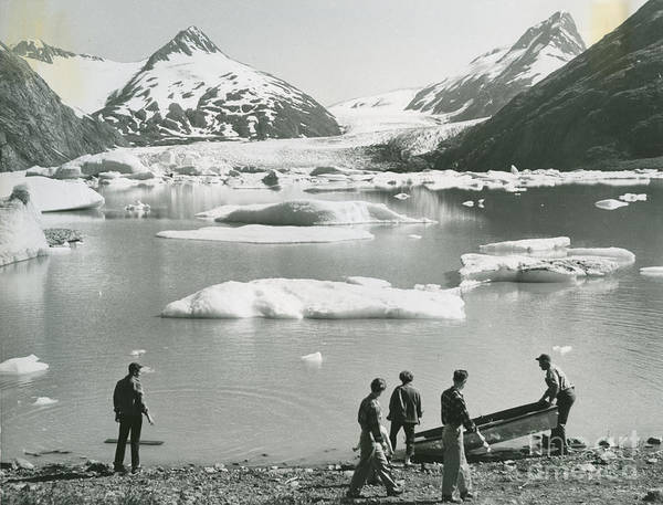Meyer Painting - the beach of a small lake of melted glacial water by Portage Glacier by Celestial Images