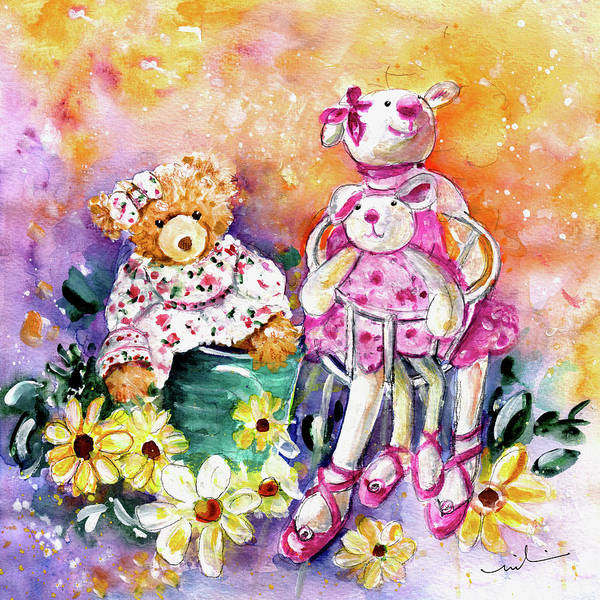 Painting - The Bear And The Ballerinas In York by Miki De Goodaboom