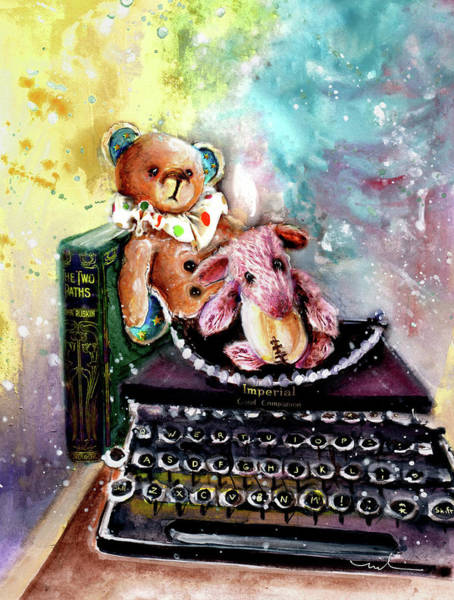 Painting - The Bear And The Sheep And The Typewriter From Whitby by Miki De Goodaboom