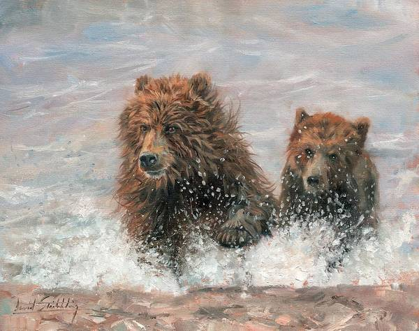 Running Water Wall Art - Painting - The Bears Are Coming by David Stribbling