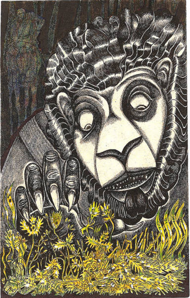 Sorcery Drawing - The Beast Discovers New Life by Al Goldfarb