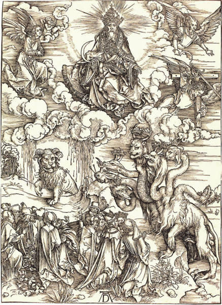Drawing -  The Beast With Two Horns Like A Lamb by Albrecht Durer