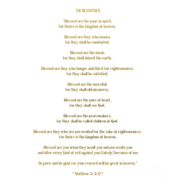 The Beatitudes Gospel Of Matthew Art Print