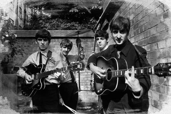 Ringo Star Wall Art - Painting - The Beatles In London 1963 Black And White Painting by Tony Rubino