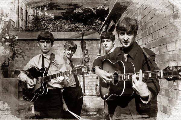 Painting - The Beatles In London 1963 Sepia Painting by Tony Rubino