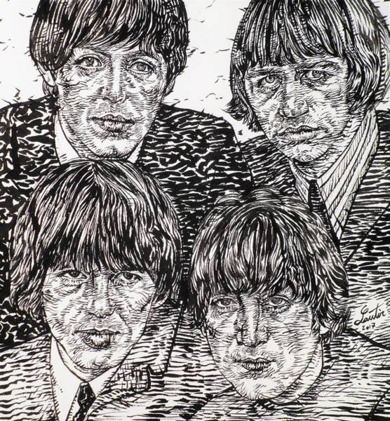 Wall Art - Drawing - The Beatles - Ink Portrait by Fabrizio Cassetta