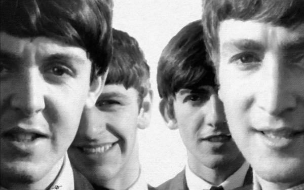 Ringo Star Wall Art - Painting - The Beatles Painting 1963 Black And White by Tony Rubino