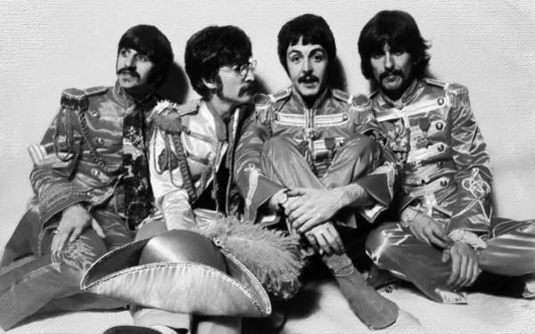Painting - The Beatles Sgt. Pepper's Lonely Hearts Club Band Painting 1967 Black And White by Tony Rubino