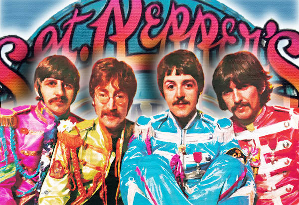 Ringo Star Wall Art - Painting - The Beatles Sgt. Pepper's Lonely Hearts Club Band Painting And Logo 1967 Color by Tony Rubino