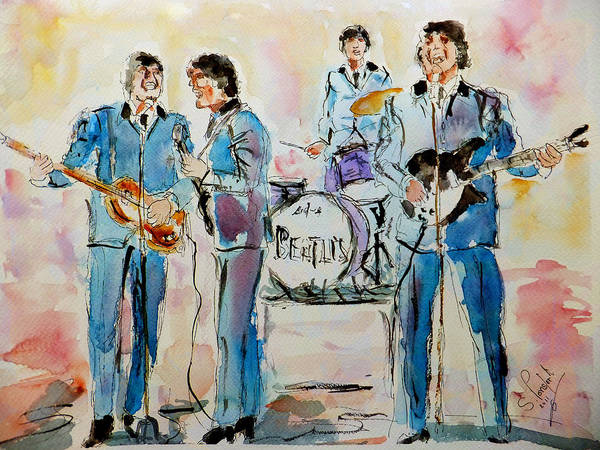 Ringo Star Wall Art - Painting - The Beatles by Steven Ponsford