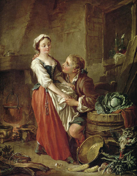 Francois Boucher Painting - The Beautiful Kitchen Maid by Francois Boucher