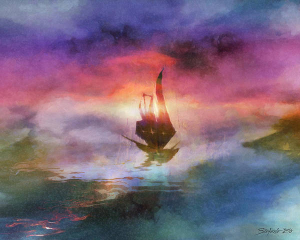 Painting - The Belated Boat by Stefano Popovski