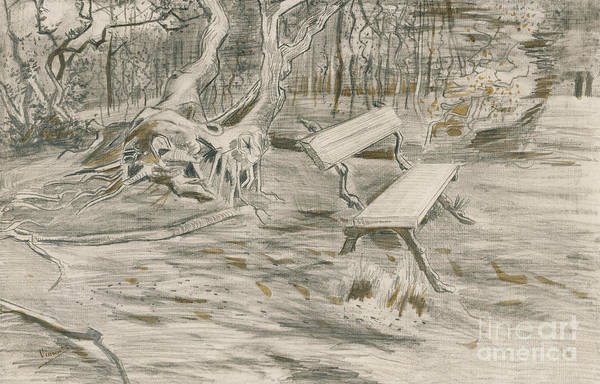 Wall Art - Drawing - The Bench by Vincent Van Gogh
