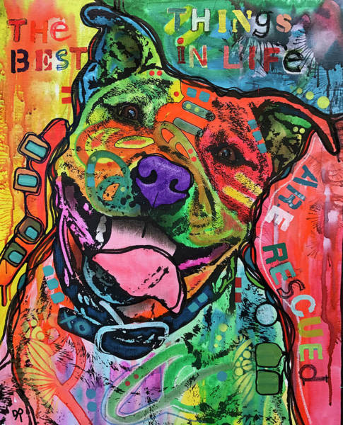 Pitbull Painting - The Best Things In Life by Dean Russo Art
