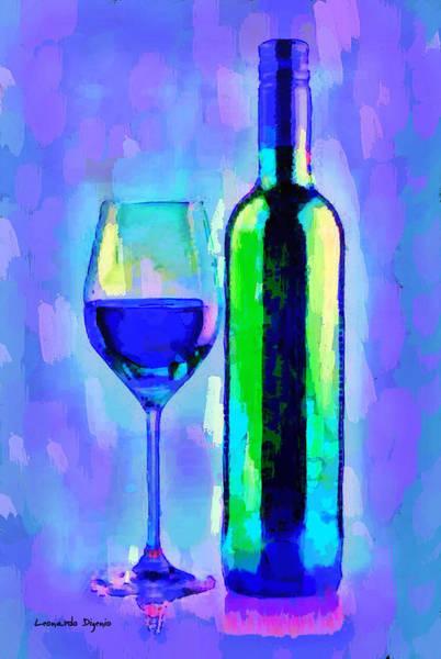 Cellar Digital Art - The Best Wine Blue - Da by Leonardo Digenio